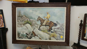 Large Vintage Cowboy Themed Oil Painting
