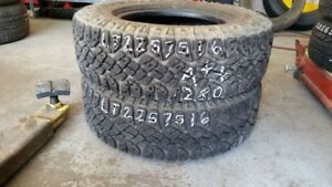 Pair of 2 Goodyear Wrangler Duratrac LT225/75R16 tires (90% trea