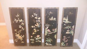 MOTHER OF PEARLS  panels decor/lot of 4 $90 obo.