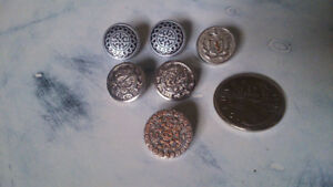 Lot of Six Silver Steampunk Vintage Buttons
