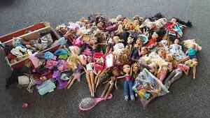 Large Lot of Brats and Barbie dolls