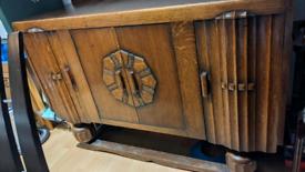 Vintage, oak, handcrafted sideboard.