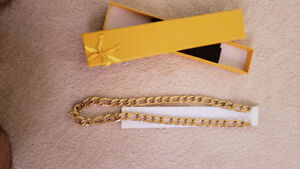 18K Gold-Platted Men Necklace Chain. 24 inch Lenght