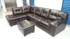 Like-New condition Brown Leather Sectional Free Delivery