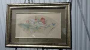 "Old Chines Hand Painted Painting on Silk,Signed"" 文仲"",老丝绢工笔Framed"
