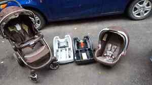Graco click and collect car seat and stroller plus second base
