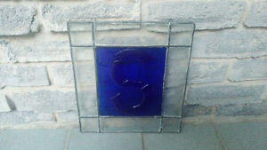 LEADED STAIN GLASS PANEL Letter S