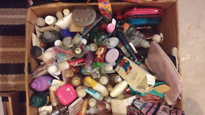 Box of perfumes n lotion wallets n 2 makeup cases