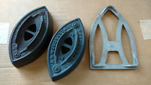 Two antique irons and Trivet