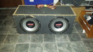2 12 inch Pioneer 450w Subs in box with Rockford Fosgate Amp