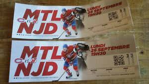 Canadiens vs New Jersey Devils sept 26 section 115 reds row L