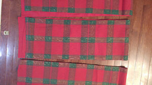 RED & GREEN PLAID TABLE RUNNERS FOUR OF THEM