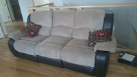 Microsuede, leather back recliner couch - 3 Months old
