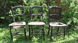 Antique Vintage Set of 3 Cane Chairs