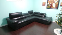 Black good quality leather sectional - Excellent condition