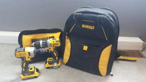 20 Volt Dewalt drills and tool bag