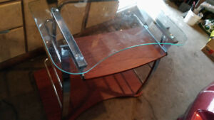 Glass Top Computer Desk with Slide out Keyboard Shelf