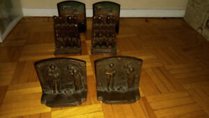 3 pairs of iron cast bookends