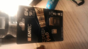 Brand New Emtec class 10 64gb sd card. Adapter included.