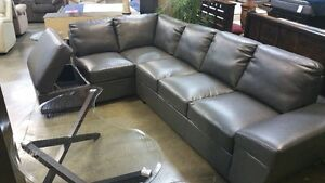 Vouge leather gel sectional with storage: grey, black, or cream