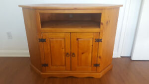 Wooden tv stand cabinet with hutch