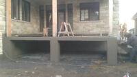 Installation balcon & dalle de cabanon crépi, béton ESTAMPÉ