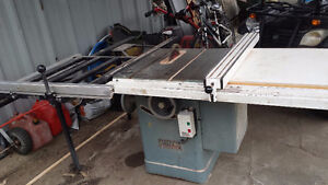 Used 5HP 600 volt 3 phase King table saw with Exalibur table