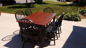 Solid wood table and six wood chairs