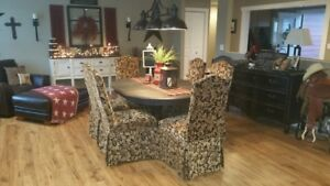 Rustic Antique Black Solid Wood Table & 8 Fabric Chairs