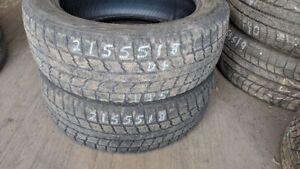 Pair of 2 Toyo Observe GSI5 215/55R18 WINTER tires (55% tread li