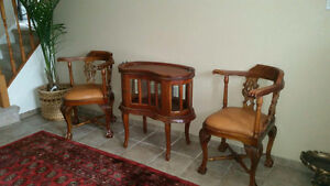ANTIQUE, HAND CRAFTED -  CHAIRS AND TABLE