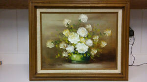 Antique listed artist Robert Cox flowers oil painting