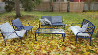Moving sale! Patio furniture and unused wood posts