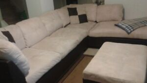 Sectional Chesterfield and Storage Ottoman