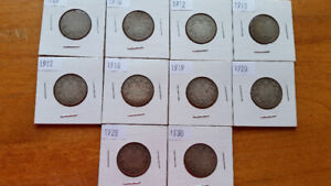 Canada Silver 25cent Coins  (10)