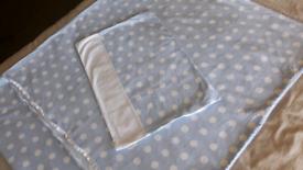 Cotbed duvet, cover, pillow. 6pc.