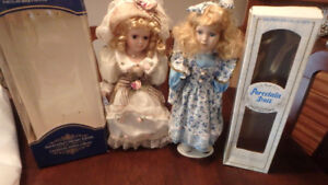 Dolls,two, display dolls, beautiful dresses and hats, like new