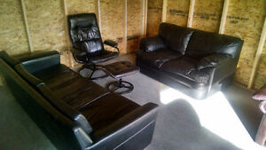 BLACK LEATHER COUCH, LOVE SEAT & CHAIR. FREE DELIVERY.
