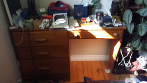 Solid wooden desk and high back office chair