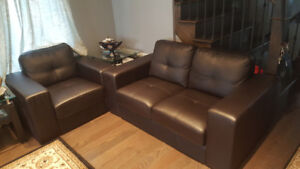 Couches in dark chocolate: love seat + chair