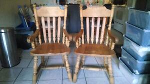 2 Chaise de cuisine en pin