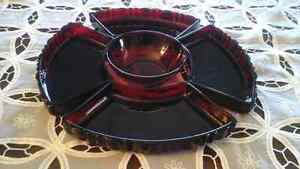 RED COLOURED GLASS LAZY SUSAN  STYLE DISH SET,  VINTAGE GLASS