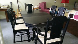 Kitchen table - Antique wooden dining table and chairs.