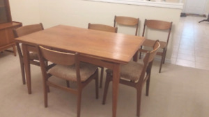 teak dining room table,chairs and hutch