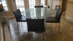 GLASS AND METAL TABLE-ROUND-47 INCHES