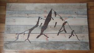 Tableau/panneau mural/cadre de Montagne en bois de grange
