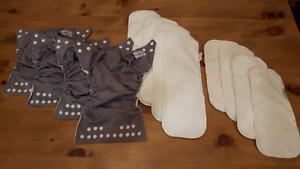 """4 """"One Size Elite"""" Grey Fuzzibunz Cloth Diapers"""