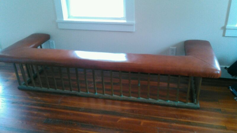 ANTIQUE ENGLISH BRASS CLUB FENDER FIREPLACE SEAT * BENCH LEATHER SEAT * 1800
