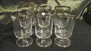 FOOTED GLASSES WITH SILVER RIM - Set of 6  - VINTAGE 1970's