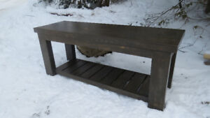 Rustic pine bench with shelf